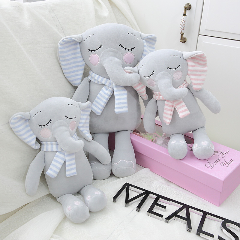 Cartoon Cute Scarf Little Elephant Plush Dolls Toy Little Elephant Plush Toys Soft Dolls Chirstmas Kid Gift Birthday Present