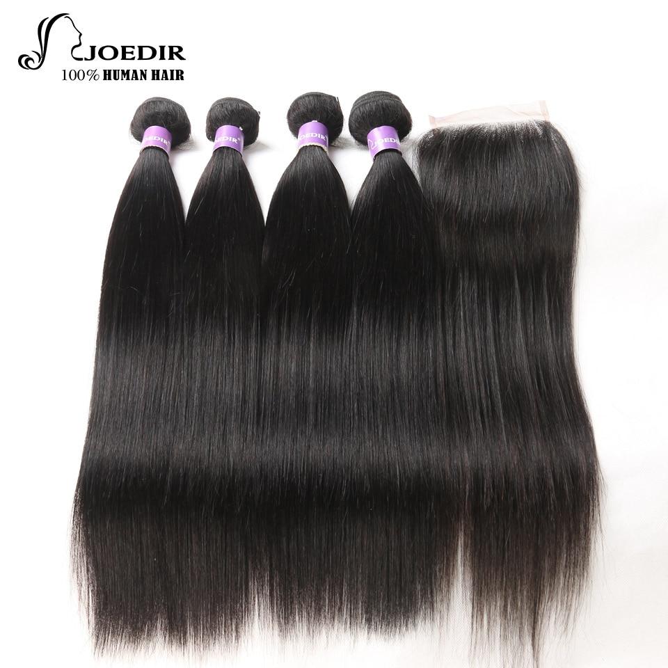 Joedir Hair Bundles Peruvian Straight Hair Bundles With Closure 100% - Skönhet och hälsa - Foto 1