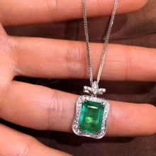 Fine Jewelry AIGS Certificate Real 18K White Gold AU750 Natural Green Emerald 3.79ct Gemstones Pendants for Women Necklace