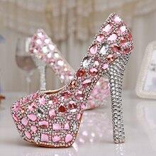 Frühling 4 Zoll Einzel Kleid Schuhe Rosa Kristall Hochzeit Kleid Schuhe Luxus Wunderschöne Damen Plattform Partei-abschlussball High Heels