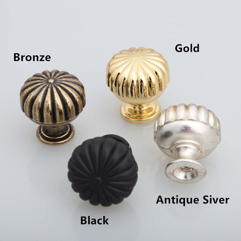 antique silver bronze pumpkin drawer knob pull black gold shoe cabinet bedside table dresser door handle knob furniture hardware