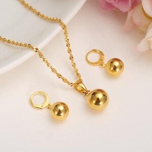 Комплекты украшений из бусин золотого цвета, Круглый Кулон, цепочка, ожерелье, шар, висячие серьги-подвески для женщин, арабо-африканская би...