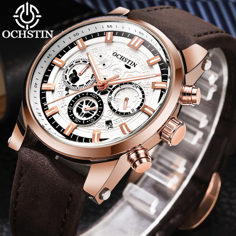 OCHSTIN Watch Men Sport Watch Leather Strap Fashion Men Chronograph Quartz-Watch Date Men's Wrist Watch relogio masculino