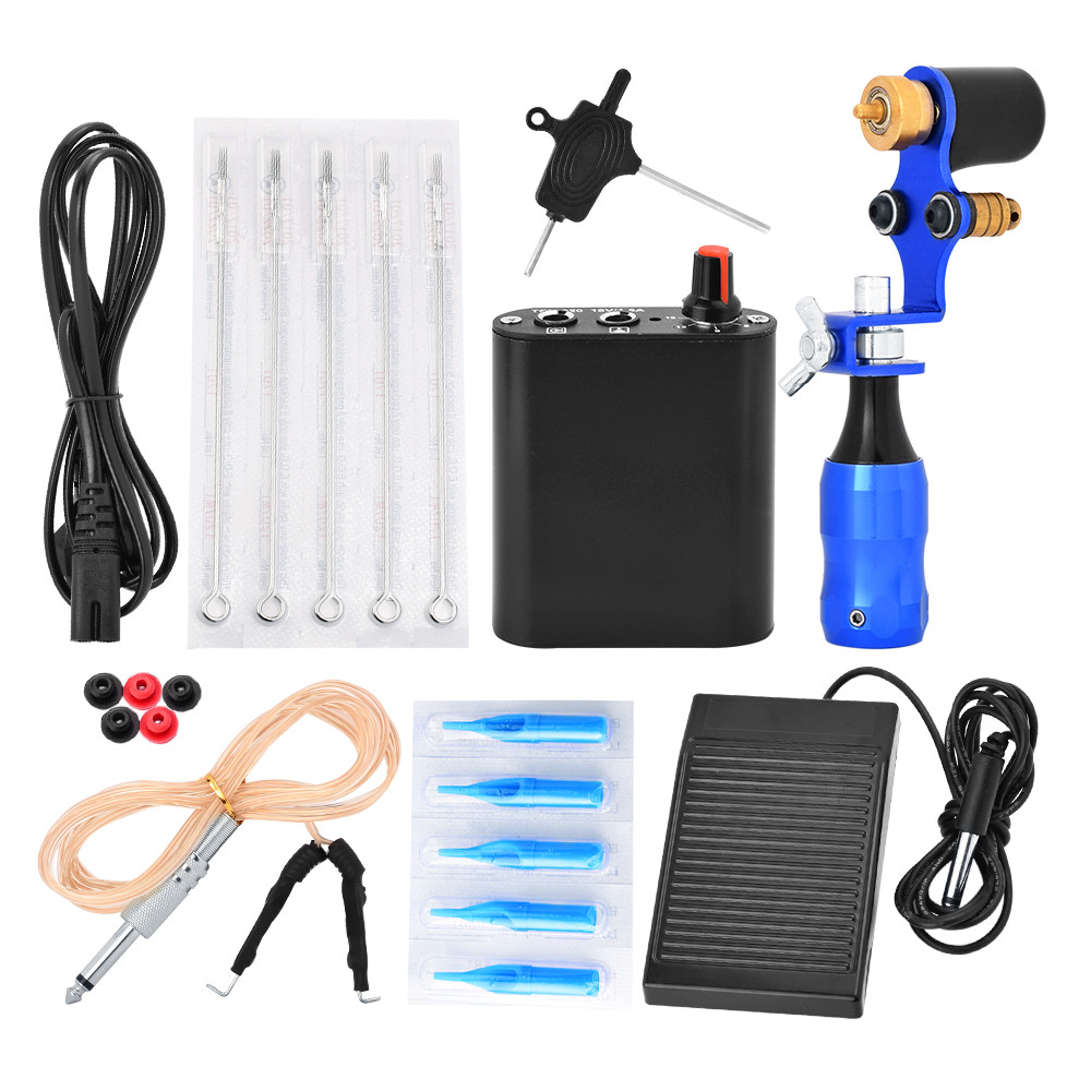 Professional Tattoo Kits Top Artist Complete Set 1 Tattoo Machine Gun Lining And Shading Grommet Grip Power Needles Equipment professional 1 bottle tattoo ink for lining and shading newest tribal liner shader pigment black newest 249ml drop shipping
