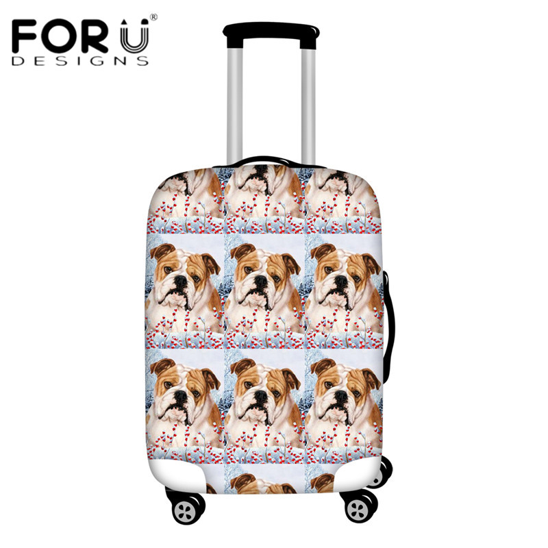 FORUDESIGNS Bulldog Floral Pattern Travel Luggage Covers Thick Dustproof Suitcase Protective Cover For 18-30 Inch Baggage Cases
