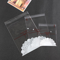 100PCS Handmade Lace Bow Printing Cookie Plastic Bag For Candy Biscuit Snack OPP Food Grade Self