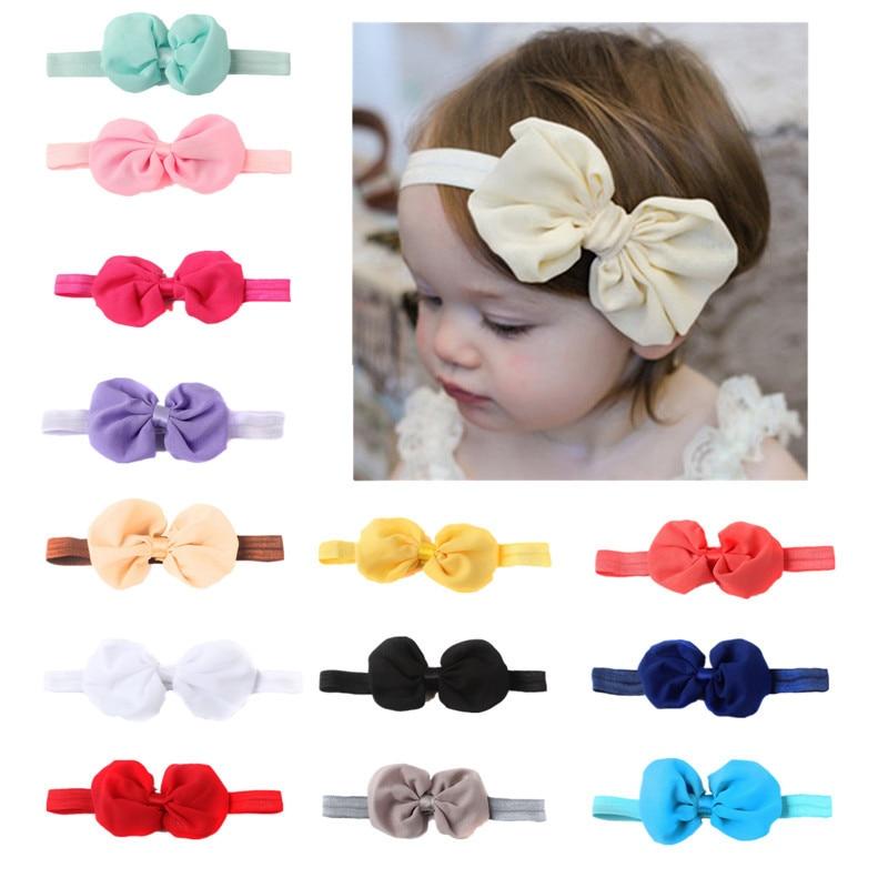 Cute Baby Girls Elastic Colorful Chiffon Bow Headband Children Hair Rubber Headwear Stretchy Bowknot Hair Bands Hair Accessories