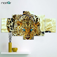 Unframed 5 Panel Canvas Art Printed Modular Picture African Leopard Animal Wall Art Home Decor For