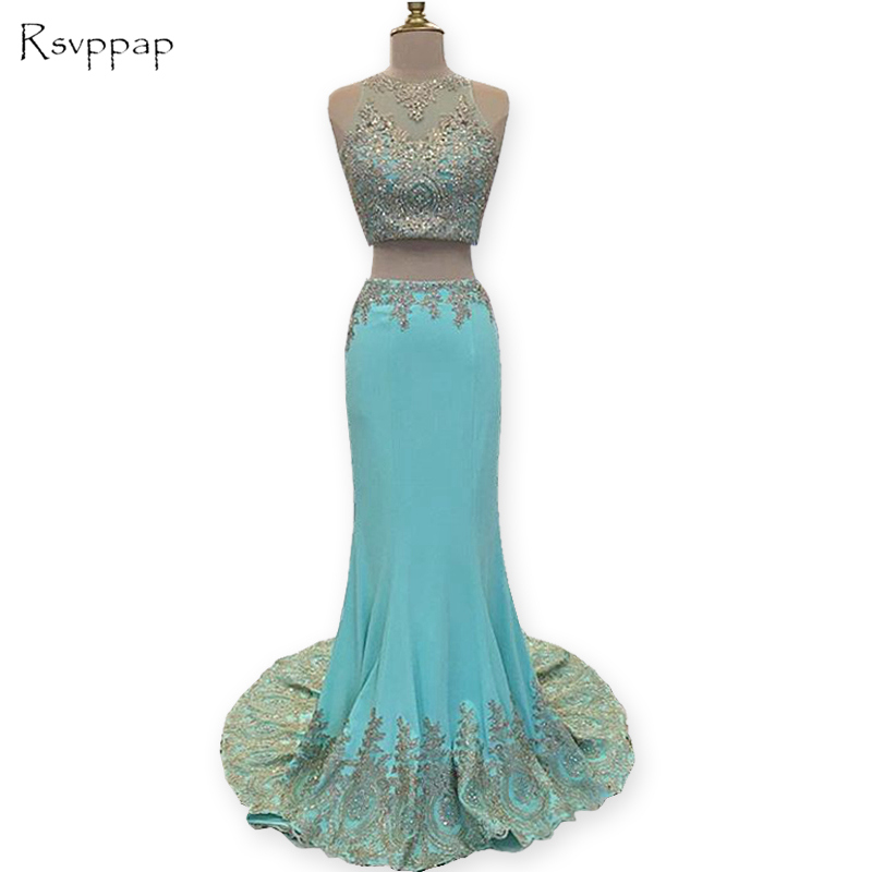 Long Prom Dresses 2017 Sheer Scoop Gold Lace Applique African Stretch Satin Mint Green Two Piece Prom Dress