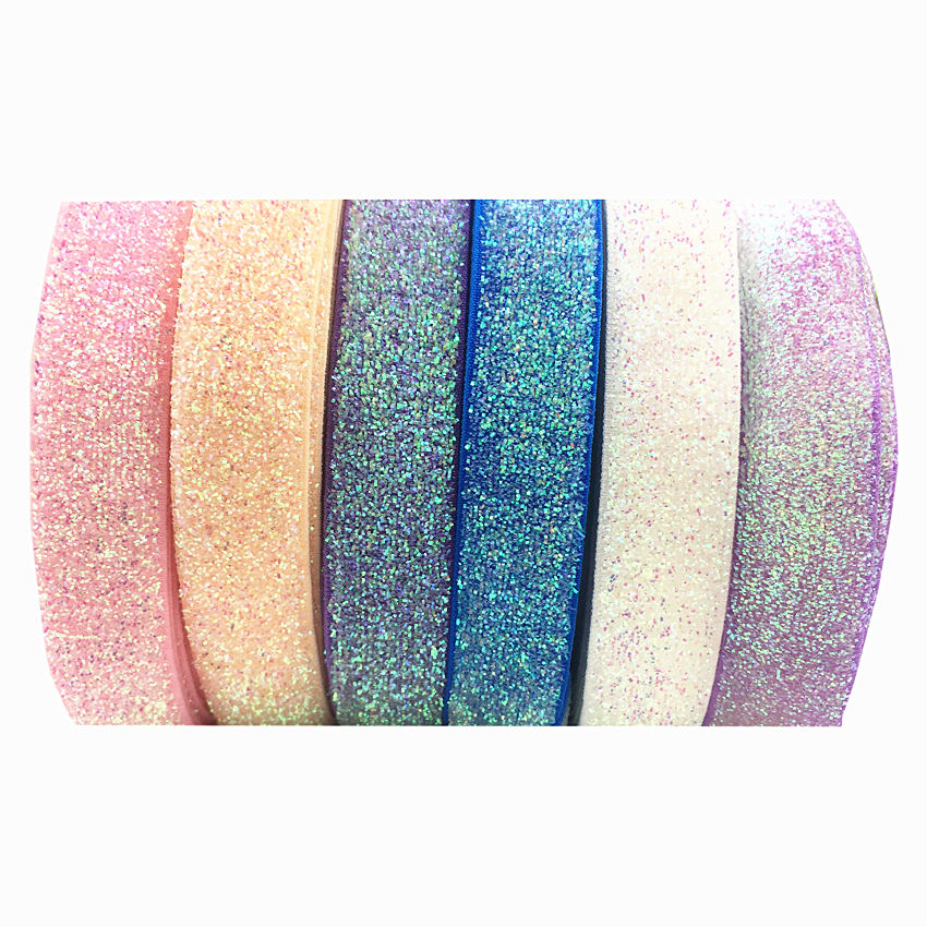 5yard 26colors Colorful Glitter Fold Over Elastic Bling