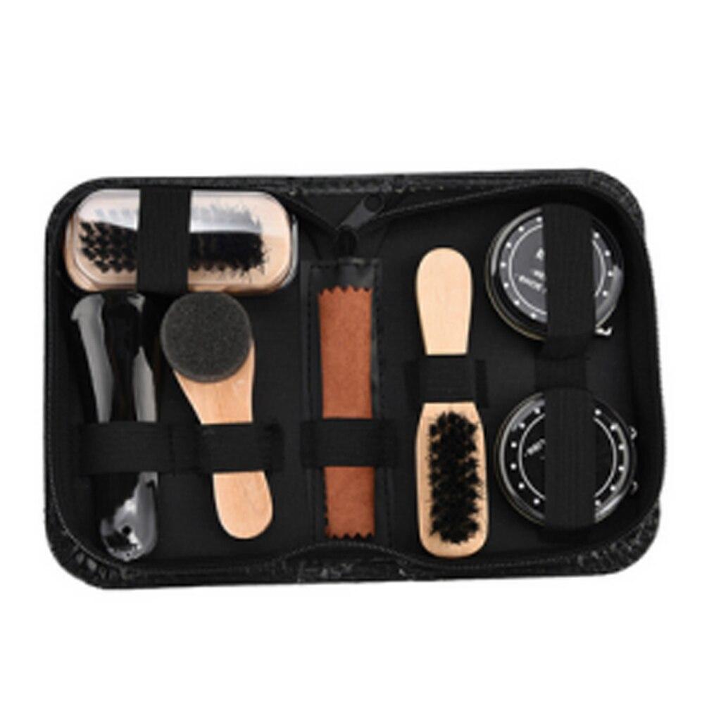 8 Pcs Brilhar Polonês Brushes Cilindro Kit Caixa de Ferramenta de Cuidados Sapato Escova de Sapato De Madeira Professional Brushes Set Acessórios Para Limpeza Doméstica