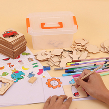 1 Suit Children Learn To Draw Tools Wooden Animals Cars Inner Board Describe Drawing Toys Kids Painting Early Education Stencil недорго, оригинальная цена