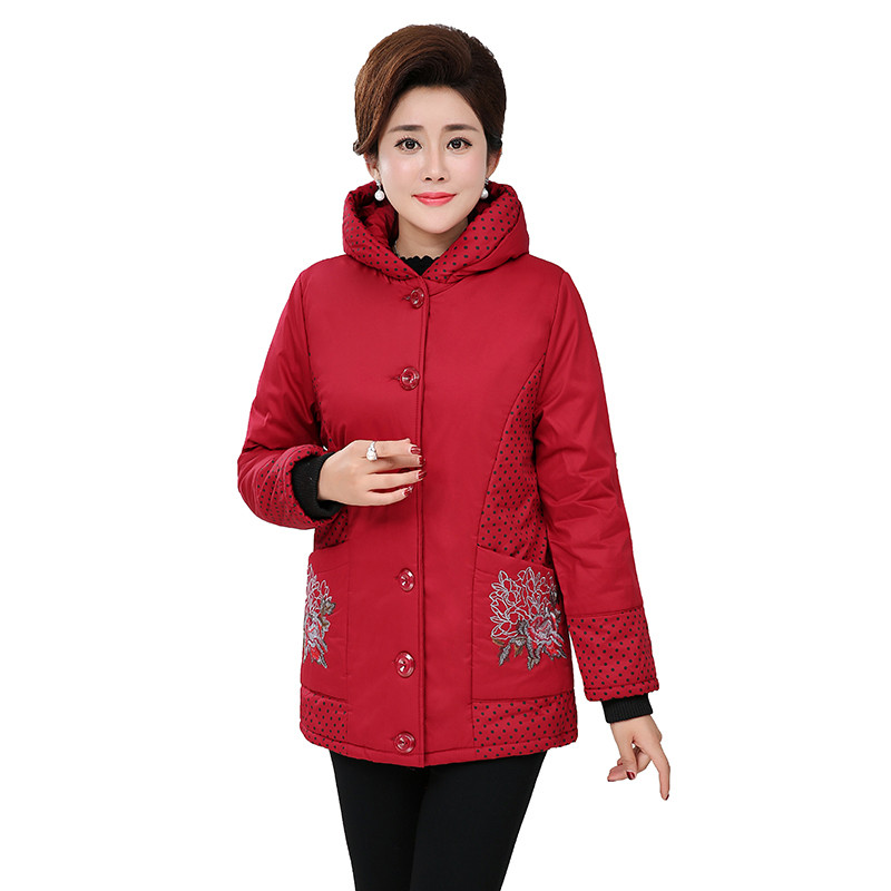 Plus Size XXL-7XL Parkas Women Print Cotton Coat Thick Warm Middle Aged Female Hooded Tops Single-breasted Cotton Jackets N327