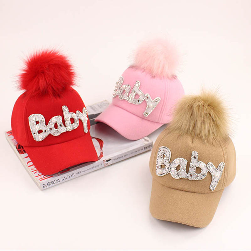2017 Cartoon Children Hip Hop Baseball Cap Winter Woolen hairball kids Sun Hat Boys Girls snapback Caps age for 2-9 years old wool 2 pieces set kids winter hat scarves for girls boys pom poms beanies kids fur cap knitted hats