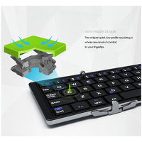 portable aluminum B.O.W  Portable Folding Bluetooth Keyboard, Pocket size  Folded Aluminum Wireless Mini Keyboard Case for Tablet/iPad /iPhone (3)
