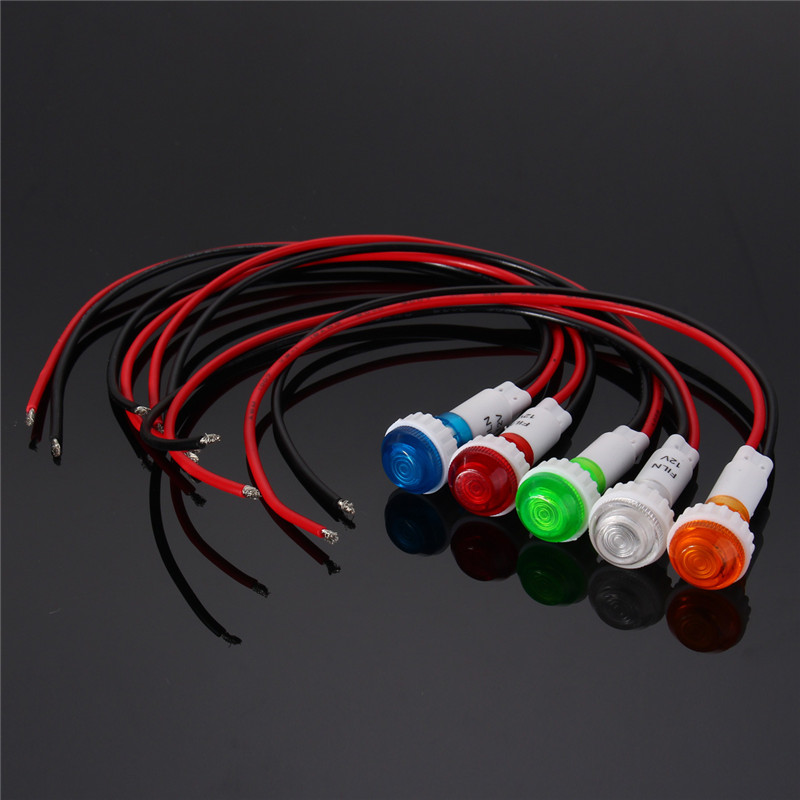 Red Yellow Blue Green White 12V 10mm LED Indicator Signal Light Pilot Dashboard Panel Warning Lamp Wired Car Truck Yacht Boat