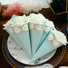 20pcs/lot Romantic Ice cream Candy Box for Wedding Decor paperboard Favors and Gifts with flower & bowknot Chic