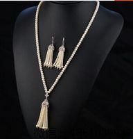 Gros natual AA 9 - 10 mm rond blanc perle d'eau douce avec tassel et boucles d'oreilles collier et boucles d'oreilles