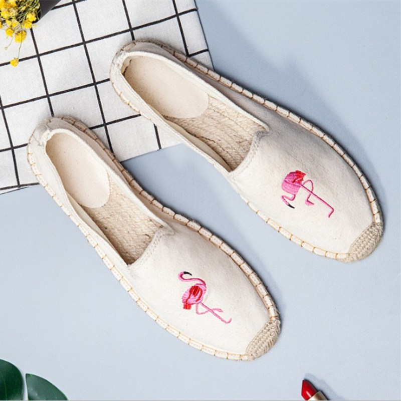 Casual Women's cloth shoes Spring summer new straw National style embroidery all-match lazy canvas ladies shoes Breathable soft