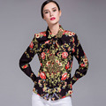 2017 New Fashion Women Turn Down Collar Long Sleeve Bow Runway Floral Print Blouse and Shirts Plus Size M- XXXL
