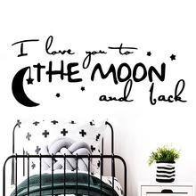 Amusing I love you to the moon Sentence Wall Stickers Personalized Creative For Kids Room Living Home Decor Decal Mural