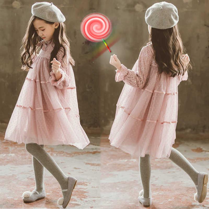 2019 Vestido De Primavera Verano Para Niñas De 8 A 12 Años De Manga Larga Dot Princess Traje De Fiesta Y Vestido De Boda Adolescentes Niños