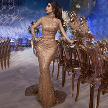 Dubai Luxury One Shoulder Gold Evening Dresses Design 2020 Mermaid Sexy Sparkle Formal Dress Serene Hill LA60966