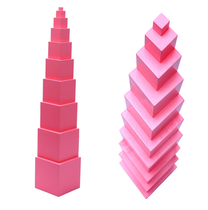 ФОТО Baby Toys Montessori Pink Tower Wooden Toys Building Blocks Educational 1-10cm Cube Blocks Teaching Set Child Gift