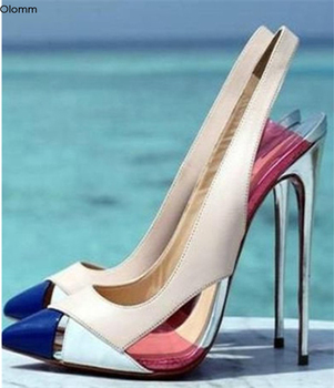 Olomm New Fashion Women Pumps Sexy Thin High Heels Pumps Nice Pointed Toe Gorgeous Beige Party Shoes Women Plus US Size 5-15