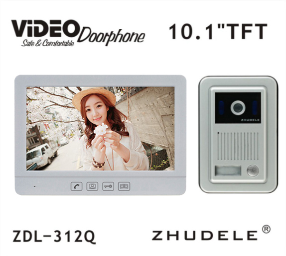 ZHUDELE Luxury 10.1 Display Video Door Phone Touch button Doorbell Intercom Night Vision 1V1 700TVL HD Home Security System