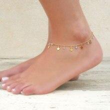 Trendy Crystal Star Pendant Chain Anklets for Women Simple Elegant Summer Beach Foot Chain Ankle Bracelet Jewlery цена