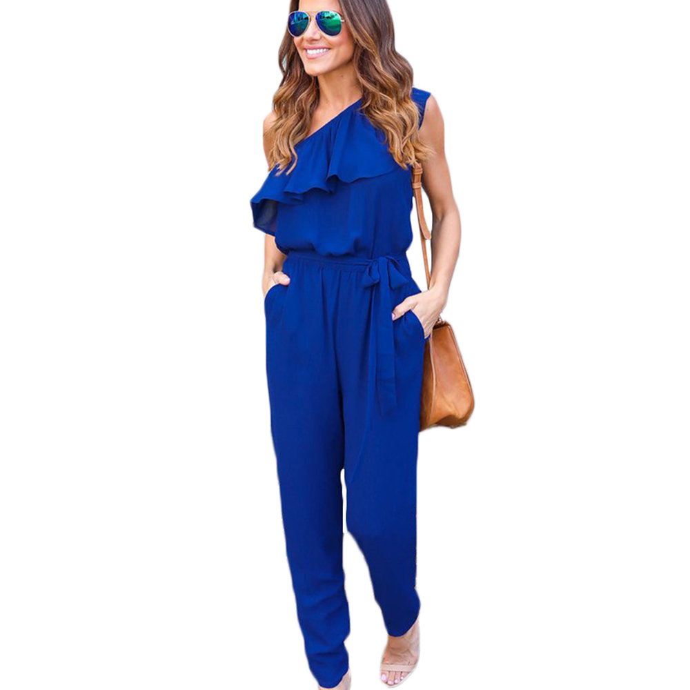 One Shoulder Elegant Long Jumpsuits Women Slim Belted Summer Rompers Overalls 2017 Fashion Sexy Ruffles Bodysuits