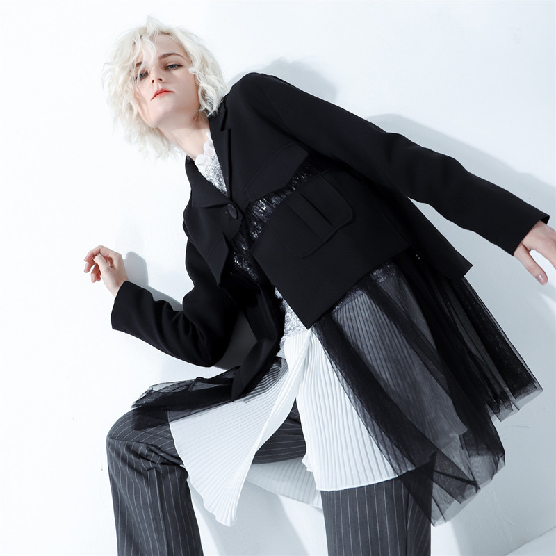 Women Jackets 2019 New European Wild Personality Splicing Mesh Gauze Casual Long Jackets Perspective Punk Gothic Black Jacket-in Jackets from Women's Clothing    2