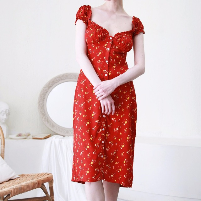 21ee4f1811832 2018 Ruffle neck cap sleeve women summer Dresses Floral Print Red Midi dress  Front buttons Vintage