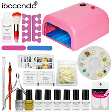 Ibcccndc Nail Art Set 36W UV Lamp 6 Color 7ml Soak off Nail Gel Base Top Coat Polish Remover Manicure Tools False Nail Tips Kit