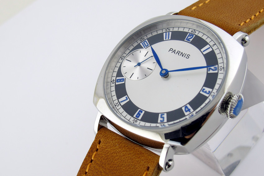 44mm Parnis 3600 Hand Winding White Dial watch Brown Strap Casual Wristwatch