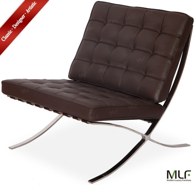 MLF Barcelona Chair. Dark Brown Aniline Leather, High Density Foam  Cushions. Polished Stainless