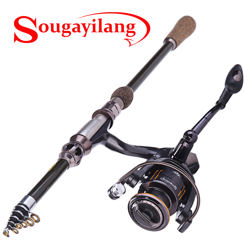 Sougayilang 1.8m-2.7m Spinning Telescopic Fishing Rod With 14BB Fishing Reel Carbon Fiber Travel Spinning Rods Combo Pole Set 2 1m fishing rod reel kit telescopic spinning rods portable mini pen fish rod telescope spin fishing pole rod reel combo tackle