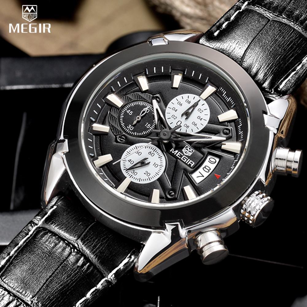 Prix pour Relogio Masculino MEGIR Chronographe Montres Hommes Véritable Cuir De Luxe Hommes Marque Militaire Montres reloj/ML2020