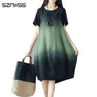 Sexy Womens Vintage Cotton Linen Dress Short Sleeve Summer Casual Loose Gradient Color Dresses Women Clothing