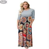 Spring Autumn Women Fashion Striped Floral Maxi Long Dress Casual O-neck Dresses Vestidos