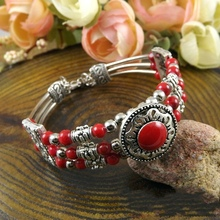 Fashion Vintage Bohemia Tibetan Silver Bracelet Red /Blue/ Black Turquoise Stone Round Beads Bangle Carving Charm Bracelet A200G