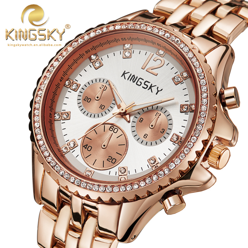 New Arrivial 121010B#KINGSKY Women New Casual Watches Rose Gold Brand Famous Japan Quartz Fashion Reloj Mujer Free Shipping kingsky women new casual watches brand famous quartz fashion reloj mujer 021052 2017 new arrivial free shipping