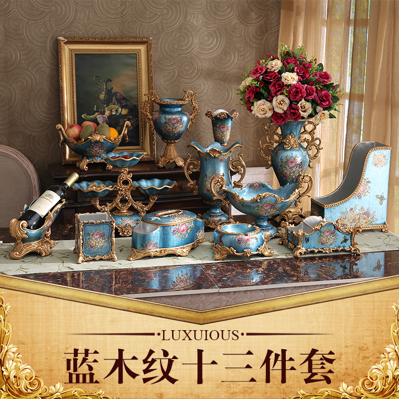 European luxury living room Home Furnishing fruit plate set Table Decor resin vase box ashtray