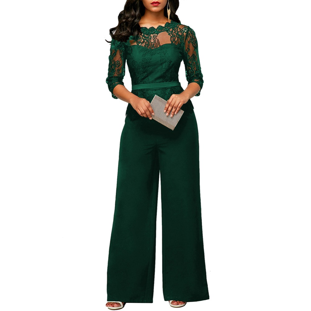 Lace Jumpsuit Women Rompers Autumn 2018 Elegant Ladies Office Work Wear overalls for Women Wide Leg Playsuit Tracksuit Long Pant