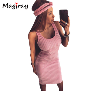 Sexy Sleeveless Knitted Tank Dress Women Knee Length Bodycon Dresses Summer 2020 Slim Scoop Neck Ribbed Robe Femme Sundress C417(China)