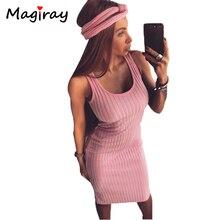 Сексуальная рукавов трикотажные платье на бретелях Для женщин по колено Bodycon Платья для женщин Лето 2018 тонкий Scoop Средства ухода за кожей шеи ребристые роковой сарафан C417