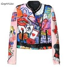 Unique graffiti jacket punk rock rivet soft motocycle short design chaqueta cuero mujer space cotton red lip slim coat LT140