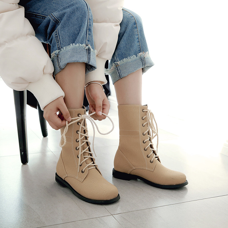 YMECHIC 2018 Ladies Cross Tie Lace Up Street Punk Rock Block Low Heel Ankle Boots Women