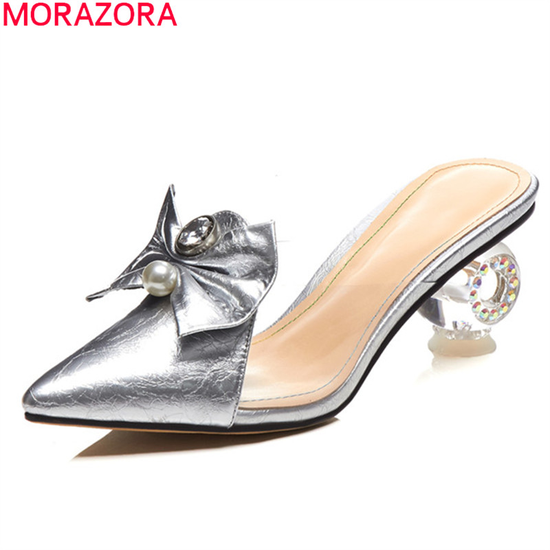 MORAZORA 2019 New Arrival Women Pumps Genuine Leather Shoes Pointed Toe Unique High Heels Mules Shoes Woman Party Wedding Shoes